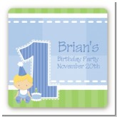 1st Birthday Boy - Square Personalized Birthday Party Sticker Labels