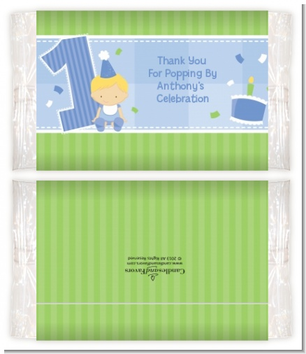 1st Birthday Boy - Personalized Popcorn Wrapper Birthday Party Favors