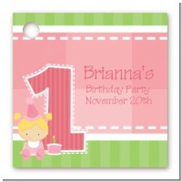 1st Birthday Girl - Personalized Birthday Party Card Stock Favor Tags