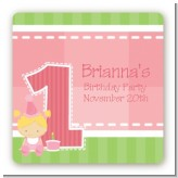 1st Birthday Girl - Square Personalized Birthday Party Sticker Labels