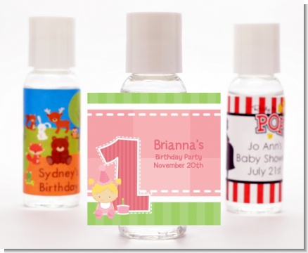 1st Birthday Girl - Personalized Birthday Party Hand Sanitizers Favors