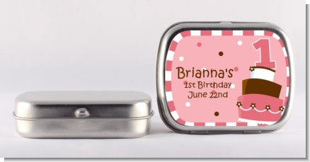 1st Birthday Topsy Turvy Pink Cake - Personalized Birthday Party Mint Tins