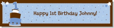 1st Birthday Topsy Turvy Blue Cake - Personalized Birthday Party Banners