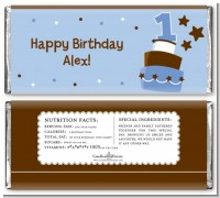 1st Birthday Topsy Turvy Blue Cake - Personalized Birthday Party Candy Bar Wrappers