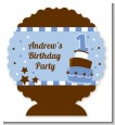 1st Birthday Topsy Turvy Blue Cake - Personalized Birthday Party Centerpiece Stand thumbnail