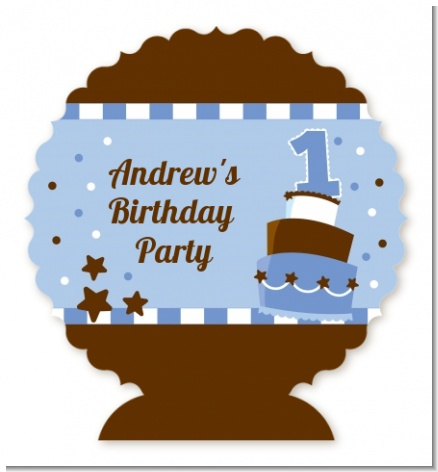 1st Birthday Topsy Turvy Blue Cake - Personalized Birthday Party Centerpiece Stand