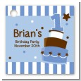 1st Birthday Topsy Turvy Blue Cake - Personalized Birthday Party Card Stock Favor Tags thumbnail
