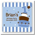 1st Birthday Topsy Turvy Blue Cake - Square Personalized Birthday Party Sticker Labels thumbnail