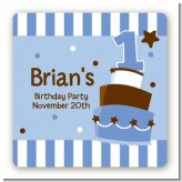 1st Birthday Topsy Turvy Blue Cake - Square Personalized Birthday Party Sticker Labels