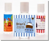 1st Birthday Topsy Turvy Blue Cake - Personalized Birthday Party Hand Sanitizers Favors