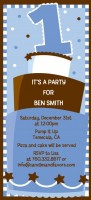 1st Birthday Topsy Turvy Blue Cake - Birthday Party Tall Invitations