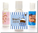 1st Birthday Topsy Turvy Blue Cake - Personalized Birthday Party Lotion Favors