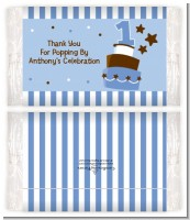 1st Birthday Topsy Turvy Blue Cake - Personalized Popcorn Wrapper Birthday Party Favors