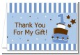 1st Birthday Topsy Turvy Blue Cake - Birthday Party Thank You Cards thumbnail