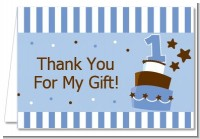 1st Birthday Topsy Turvy Blue Cake - Birthday Party Thank You Cards