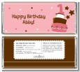 1st Birthday Topsy Turvy Pink Cake - Personalized Birthday Party Candy Bar Wrappers thumbnail