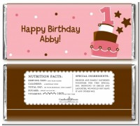 1st Birthday Topsy Turvy Pink Cake - Personalized Birthday Party Candy Bar Wrappers