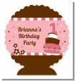 1st Birthday Topsy Turvy Pink Cake - Personalized Birthday Party Centerpiece Stand thumbnail