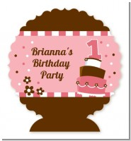 1st Birthday Topsy Turvy Pink Cake - Personalized Birthday Party Centerpiece Stand