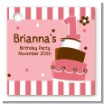 1st Birthday Topsy Turvy Pink Cake - Personalized Birthday Party Card Stock Favor Tags thumbnail