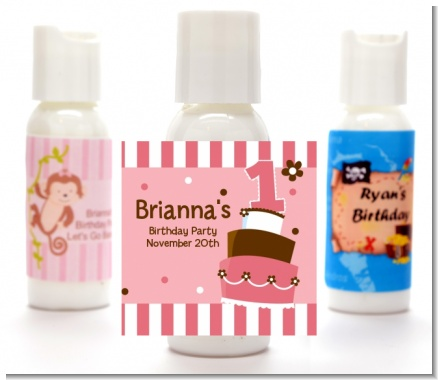 1st Birthday Topsy Turvy Pink Cake - Personalized Birthday Party Lotion Favors