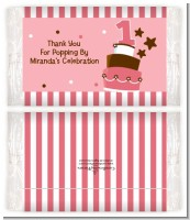 1st Birthday Topsy Turvy Pink Cake - Personalized Popcorn Wrapper Birthday Party Favors