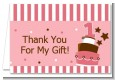 1st Birthday Topsy Turvy Pink Cake - Birthday Party Thank You Cards thumbnail