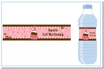 1st Birthday Topsy Turvy Pink Cake - Personalized Birthday Party Water Bottle Labels