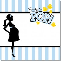 Ready To Pop Blue Baby Shower Theme