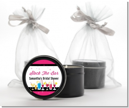 Stock the Bar Cocktails - Bridal Shower Black Candle Tin Favors