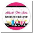 Stock the Bar Cocktails - Round Personalized Bridal Shower Sticker Labels thumbnail