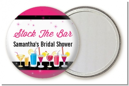 Stock the Bar Cocktails - Personalized Bridal Shower Pocket Mirror Favors