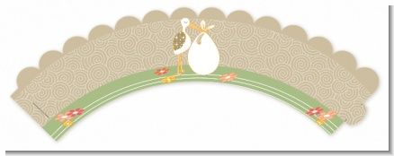 Stork Neutral - Baby Shower Cupcake Wrappers