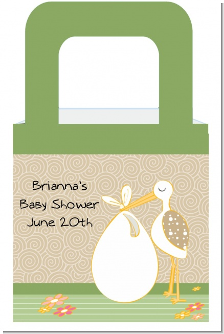 Stork Neutral - Personalized Baby Shower Favor Boxes
