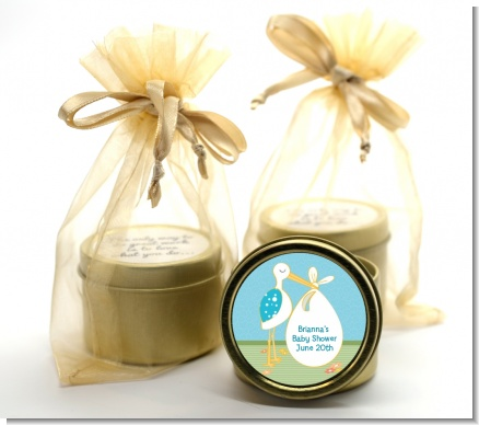 Stork It's a Boy - Baby Shower Gold Tin Candle Favors