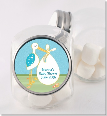 Stork It's a Boy - Personalized Baby Shower Candy Jar