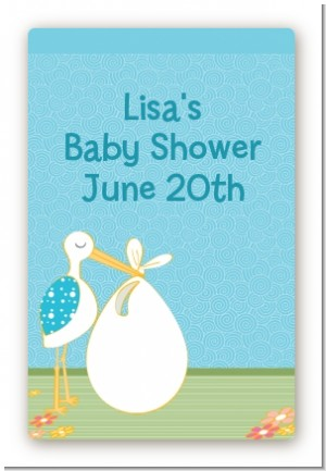 Stork It's a Boy - Custom Large Rectangle Baby Shower Sticker/Labels