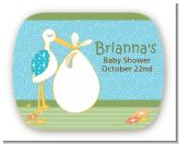Stork It's a Boy - Personalized Baby Shower Rounded Corner Stickers
