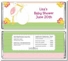 Stork It's a Girl - Personalized Baby Shower Candy Bar Wrappers