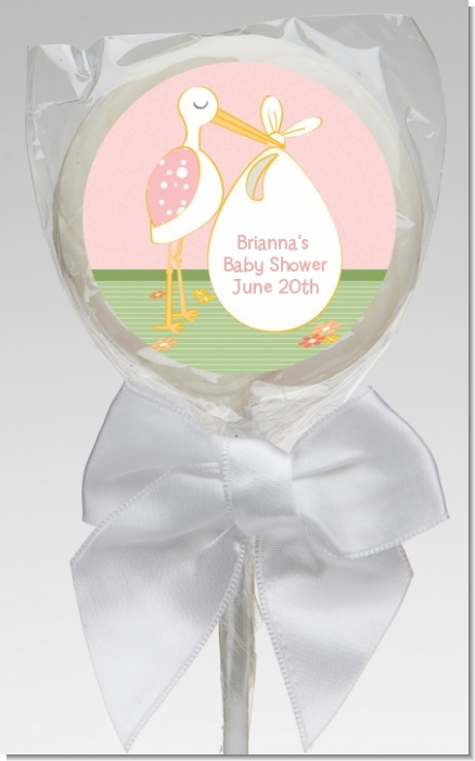Stork It's a Girl - Personalized Baby Shower Lollipop Favors