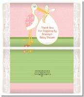 Stork It's a Girl - Personalized Popcorn Wrapper Baby Shower Favors