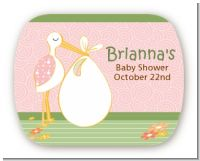 Stork It's a Girl - Personalized Baby Shower Rounded Corner Stickers