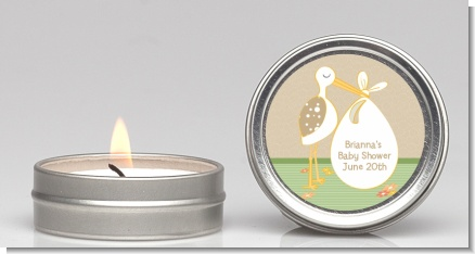 Stork Neutral - Baby Shower Candle Favors
