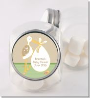 Stork Neutral - Personalized Baby Shower Candy Jar