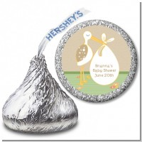Stork Neutral - Hershey Kiss Baby Shower Sticker Labels