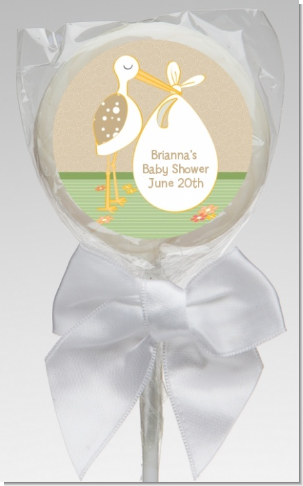 Stork Neutral - Personalized Baby Shower Lollipop Favors