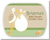 Stork Neutral - Personalized Baby Shower Rounded Corner Stickers