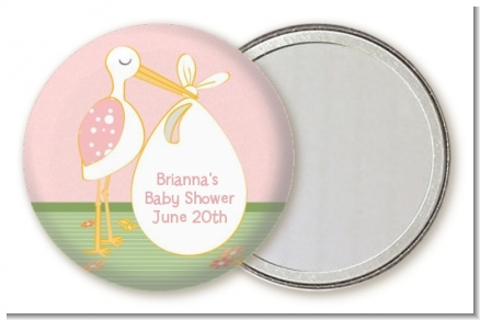 Stork It's a Girl - Personalized Baby Shower Pocket Mirror Favors