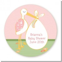 Stork It's a Girl - Round Personalized Baby Shower Sticker Labels