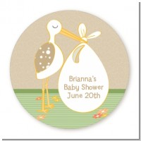 Stork Neutral - Round Personalized Baby Shower Sticker Labels